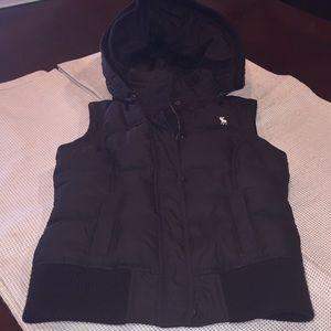 Abercrombie girls kids XL brown puffer vest hood
